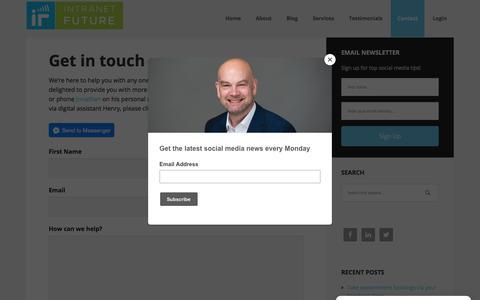 Screenshot of Contact Page intranetfuture.com - Contact Jonathan Pollinger - captured Dec. 13, 2017