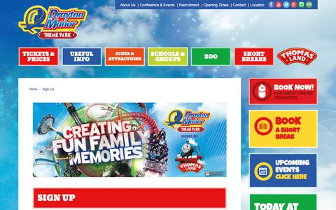 Screenshot of Signup Page draytonmanor.co.uk - Sign-Up | Newsletter | Drayton Manor Park - captured Oct. 13, 2017