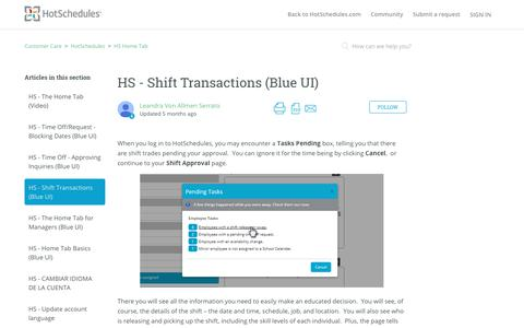Screenshot of Support Page hotschedules.com - HS - Shift Transactions (Blue UI) – Customer Care - captured March 8, 2018
