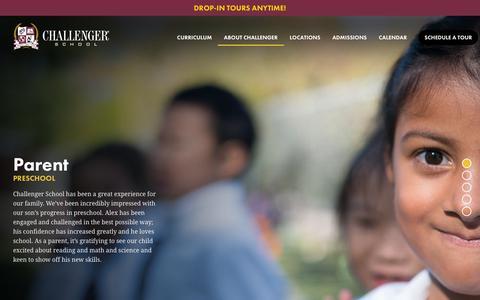 Screenshot of Testimonials Page challengerschool.com captured July 17, 2018
