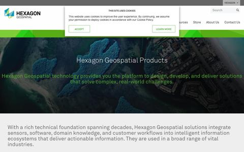 Screenshot of Products Page hexagongeospatial.com - Hexagon Geospatial Products | Hexagon Geospatial - captured Sept. 28, 2018