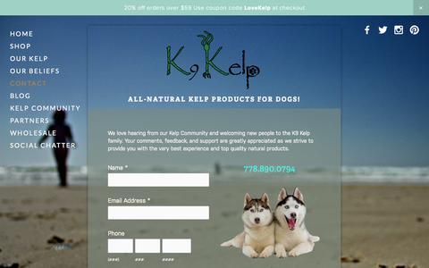 Screenshot of Contact Page k9kelp.net - Contact — K9 Kelp - captured Oct. 29, 2014