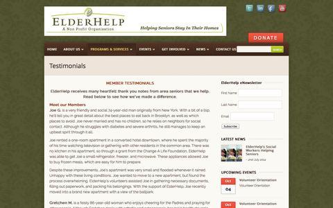 Screenshot of Testimonials Page elderhelpofsandiego.org - Testimonials | ElderHelp of San Diego - captured Sept. 29, 2014