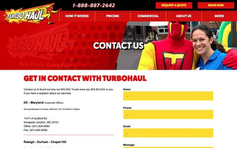 Screenshot of Contact Page turbohaul.com - Contact Us - TurboHaul Junk Removal Services | Bulk Trash Removal Company | Junk Hauling in VA, DC, MD, NC - captured Oct. 20, 2018