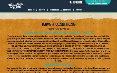Screenshot of Terms Page tijuanaflats.com - Terms & Conditions | Tijuana Flats - captured Sept. 22, 2014