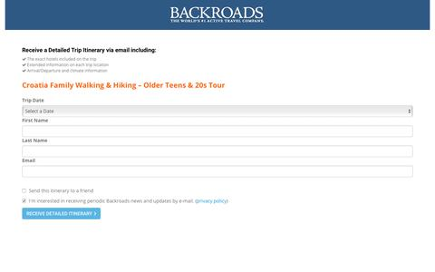 Screenshot of Landing Page backroads.com - MyBackroads - Detailed Itinerary - captured Sept. 11, 2017
