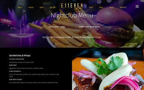 Screenshot of Menu Page 11miami.com - Food & Beverage Menu | E11EVEN Miami — E11EVEN Miami - captured Oct. 1, 2016