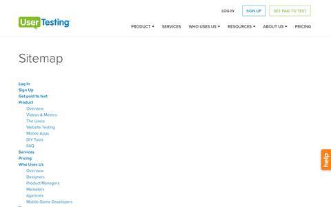 Screenshot of Site Map Page usertesting.com - Sitemap - captured Oct. 27, 2016