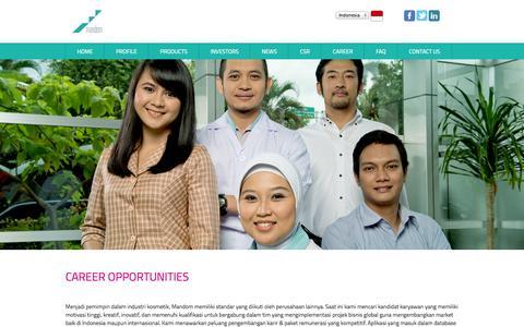 Screenshot of Jobs Page mandom.co.id - Mandom - - captured Oct. 1, 2014