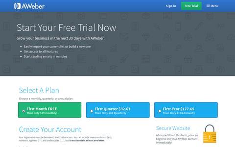 Screenshot of Trial Page aweber.com - Free Email Marketing Trial | AWeber Email Marketing Software - captured Nov. 13, 2015