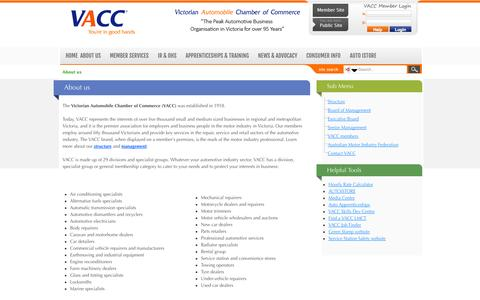 Screenshot of About Page vacc.com.au - About us - captured Oct. 31, 2014