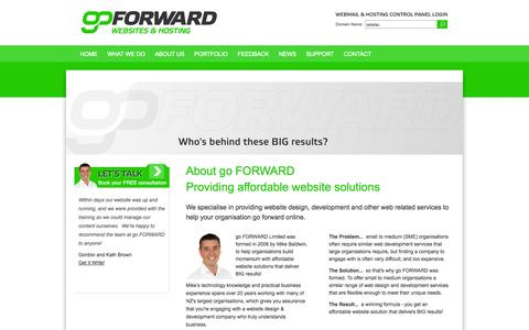 Screenshot of About Page goforward.co.nz - go FORWARD - About go FORWARD<br/>Providing affordable website solutions - captured Sept. 30, 2014