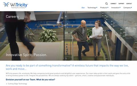 Screenshot of Jobs Page witricity.com - Careers - WiTricity - captured Feb. 11, 2017