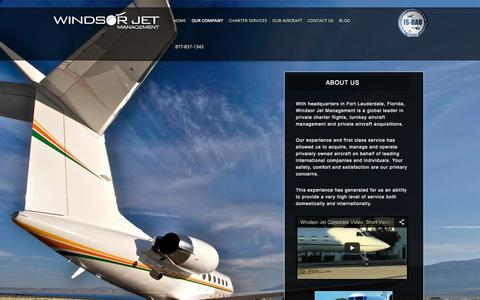 Screenshot of About Page windsorjet.com - Private Jet Charter Company   Windsor Jet Management - captured Oct. 7, 2014