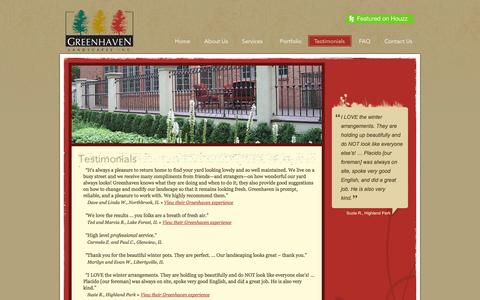 Screenshot of Testimonials Page mygreenhaven.com - Testimonials   Greenhaven Landscapes - captured Oct. 3, 2014