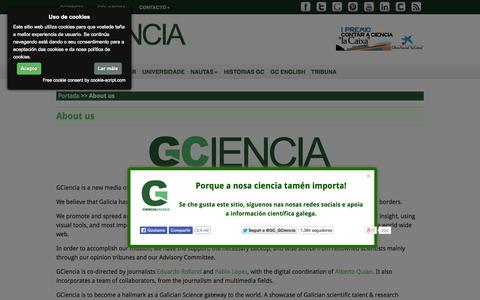Screenshot of About Page gciencia.com - About us - GCiencia - captured Sept. 19, 2014
