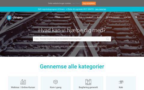 Screenshot of Support Page dinero.dk - Hjælp til Dinero - Dinero.dk - captured Nov. 6, 2018