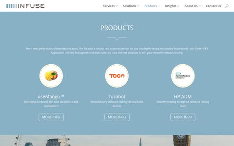 Screenshot of Products Page infuse.it - Software Testing Tools   Modern Software Testing Products   Infuse - captured Nov. 26, 2016