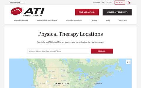 Screenshot of Locations Page atipt.com - Find a Physical Therapy Location   ATI Physical Therapy - captured Oct. 24, 2019