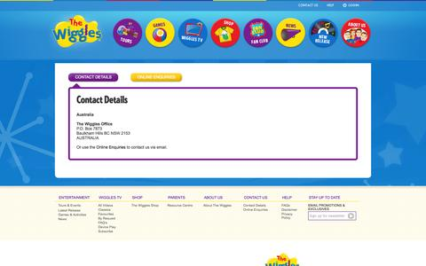 Screenshot of Contact Page thewiggles.com - The Wiggles - captured Sept. 25, 2014