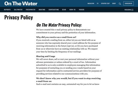 Screenshot of Privacy Page onthewater.com - Privacy Policy - captured Sept. 23, 2018
