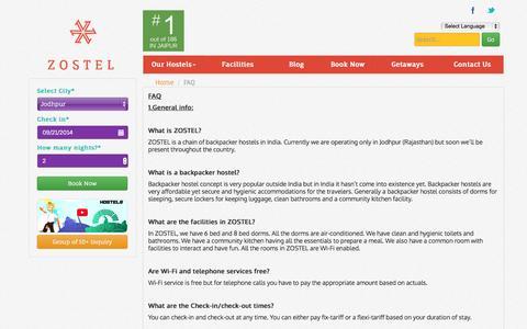 Screenshot of FAQ Page zostel.com - FAQ - Zostel - captured Sept. 17, 2014