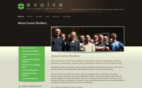 Screenshot of About Page evolvebuilders.ca - About the Green Construction Leaders in Ontario: Evolve Builders Group - captured Sept. 29, 2018