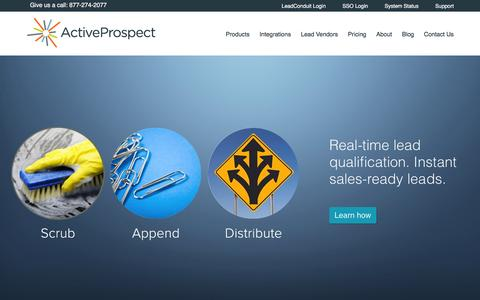 Screenshot of Home Page activeprospect.com - Marketing Automation Middleware for Online Lead Qualification | ActiveProspect - captured Feb. 5, 2016
