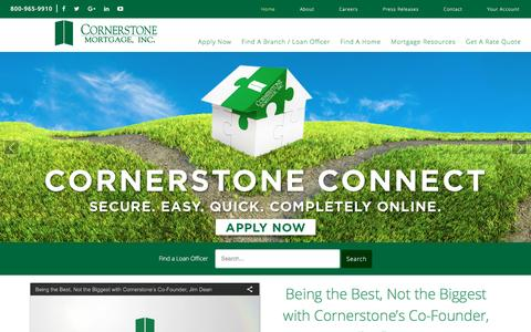 Screenshot of Home Page cornerstonemortgage.com - Cornerstone Mortgage – Cornerstone Mortgage - captured April 11, 2016