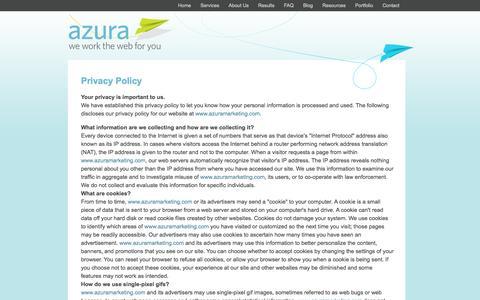 Screenshot of Privacy Page azuramarketing.com - Azura Marketing Privacy Policy - captured Oct. 4, 2014