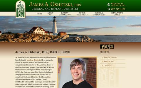 Screenshot of About Page droshetski.com - James Oshetski DDS | Best Dentist in Brunswick ME & Portland ME - captured Oct. 6, 2014