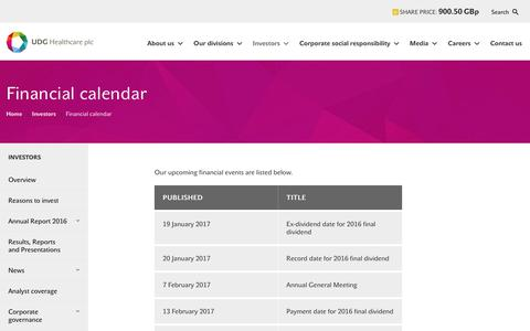 Screenshot of udghealthcare.com - Financial calendar  | UDG Healthcare plc - captured Oct. 24, 2017