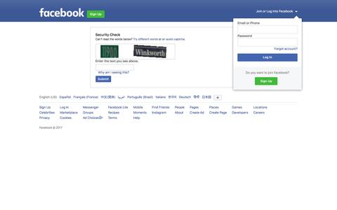 Screenshot of Facebook Page facebook.com - Security Check Required - captured May 28, 2017