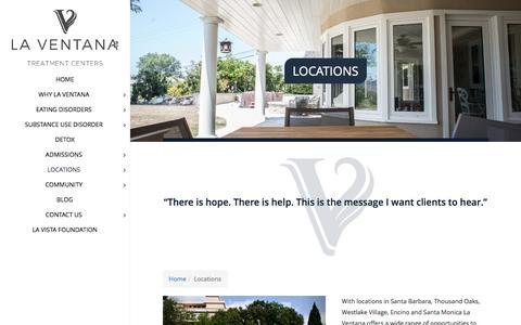Screenshot of Locations Page laventanaed.com - Locations | La Ventana Treatment Centers - captured Oct. 16, 2016