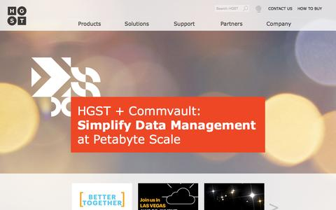 Screenshot of Home Page hgst.com - HGST Solutions | Hard Disk Drives, Solid-State Drives & External Storage Products - captured Oct. 1, 2015