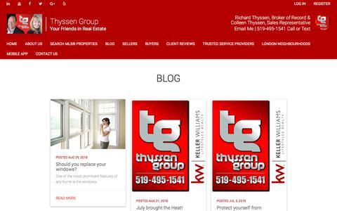 Screenshot of Blog thyssengroup.com - Richard Thyssen's Real Estate Tips and Trends - captured Sept. 21, 2018