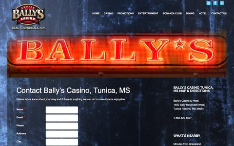 Screenshot of Contact Page Maps & Directions Page ballystunica.com - Bally's Casino Tunica MS Contact Information, Tunica Map & Casino Directions - captured June 13, 2016