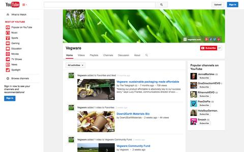 Screenshot of YouTube Page youtube.com - Vegware  - YouTube - captured Oct. 26, 2014