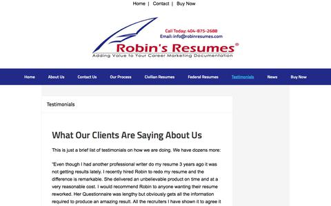 Screenshot of Testimonials Page robinresumes.com - Robin's Resumes® - Testimonials from Folks we have Helped | - captured Oct. 22, 2017