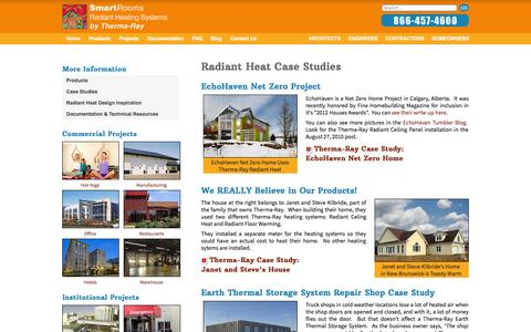 Screenshot of Case Studies Page thermaray.com - Radiant Heat Case Studies   Radiant Heating Systems by Therma-Ray - captured Oct. 7, 2014