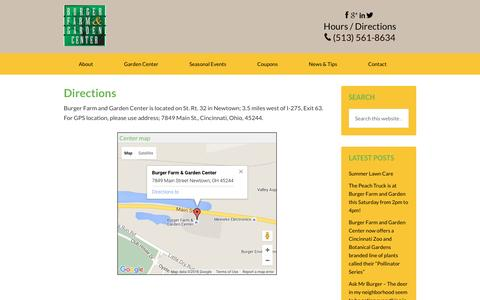 Screenshot of Maps & Directions Page burgerfarms.com - Directions - captured June 18, 2016