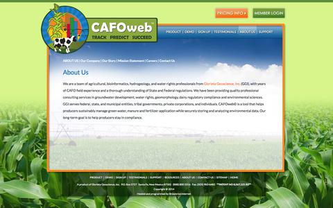 Screenshot of About Page cafoweb.com - About Us | Nutrient Application Forecasting & Compliance Management Software for Dairies & CAFOs | CAFOweb© - captured Sept. 26, 2014