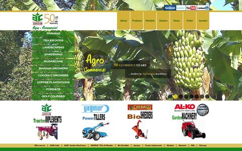 Screenshot of Home Page agrocom.in - Agro Commercial | Lawn Mower | Ride on Mowers | Gardening Machinery - captured Oct. 4, 2014