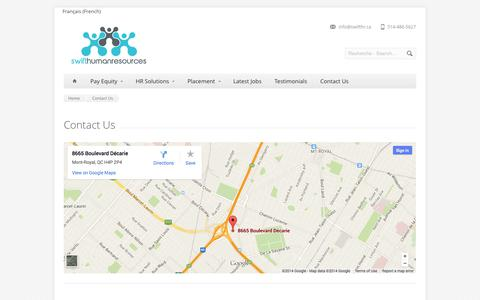 Screenshot of Contact Page swifthr.ca - Contact Us - Swift Human Resources – Pay Equity – Équité Salariale – Montreal – Quebec - captured Oct. 3, 2014