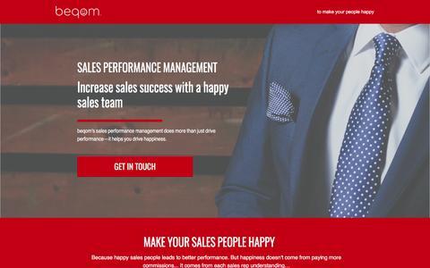 Screenshot of Landing Page beqom.com - beqom | Sales Performance Management Software - captured April 6, 2017