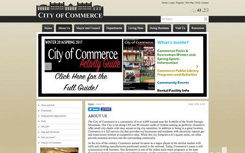 Screenshot of About Page commercega.org - City of Commerce | City of Commerce, GA, About Us - captured Jan. 20, 2017
