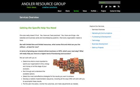 Screenshot of Services Page andler.org - Services Overview «  Andler Resource Group - captured Oct. 4, 2014