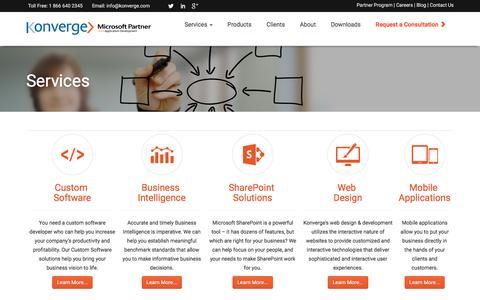 Screenshot of Services Page konverge.com - Custom Software, Custom Software Solutions | Services - captured Nov. 27, 2016