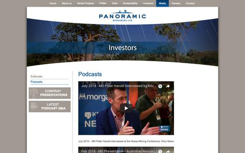 Screenshot of Press Page panoramicresources.com - Podcasts - Panoramic Resources - captured Oct. 2, 2018