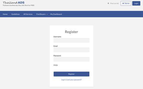 Screenshot of Signup Page thailandads.com - Register - captured Sept. 20, 2018